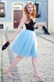Dámská tylová TUTU sukně světle modrá