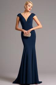 Vysoce elegantní tmavě modré plesové šaty