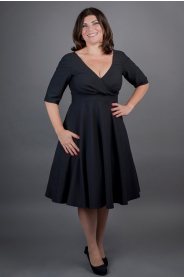 Černé šaty MARGARET se skládaným živůtkem