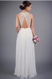 Splývavé svatební šaty s odhalenými zády