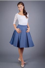 Kolová sukně denim s puntíky