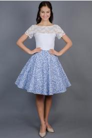 Kolová sukně modrá porcelánová