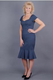 Pouzdrové šaty modré s volánem