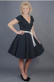 Zavinovací šaty černé s puntíky