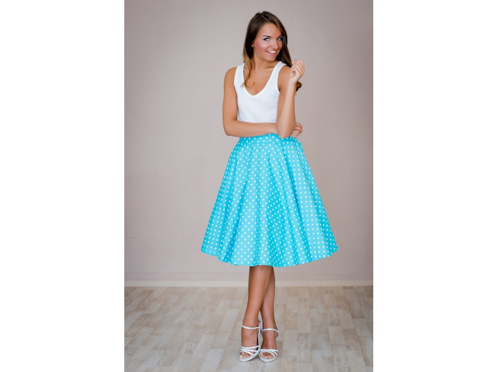 Kruhová sukňa tyrkysová s bodkami