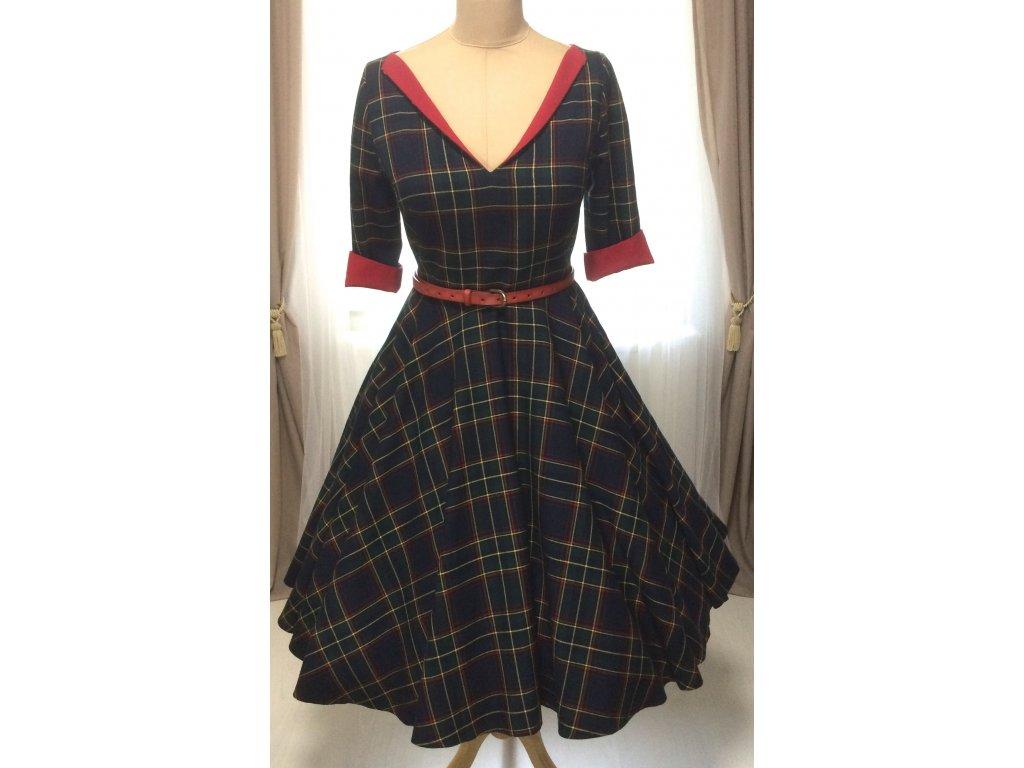LOREN retro šaty s rukávom kárované
