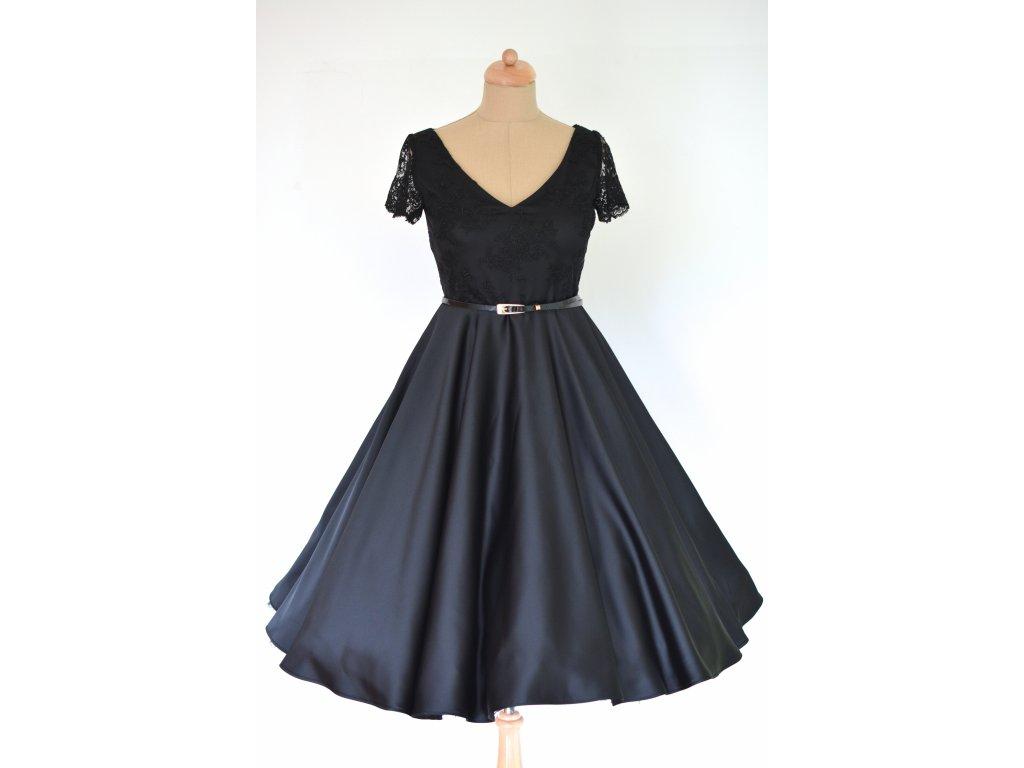 Čierne retro šaty LOREN s čipkou - viac farieb