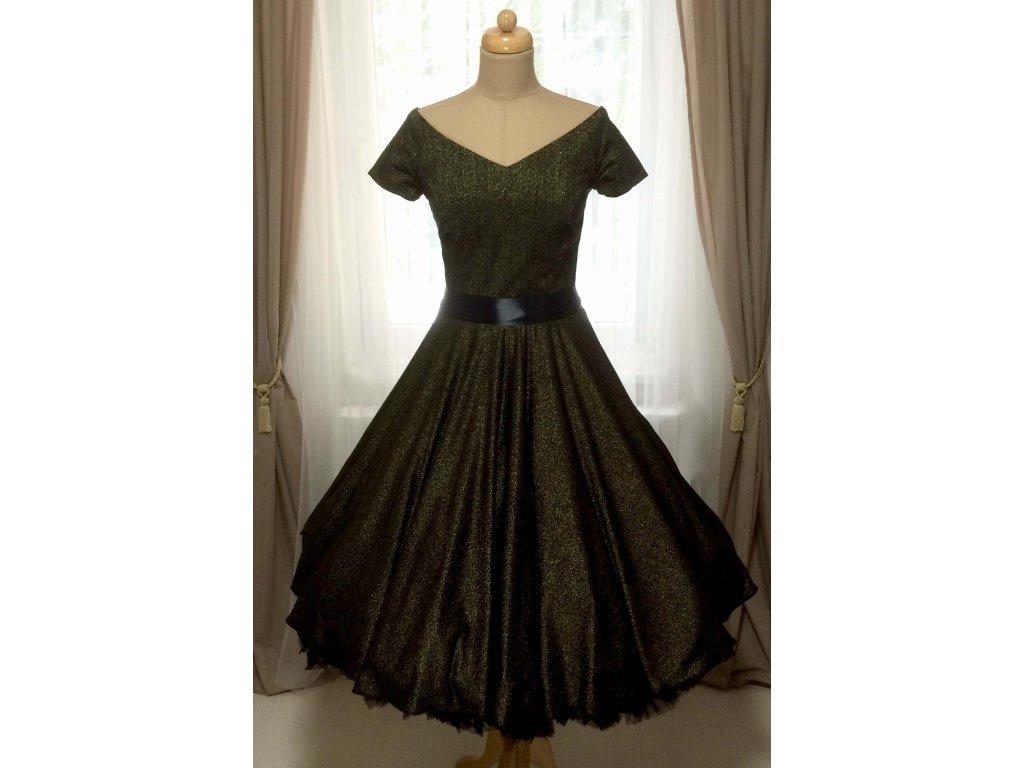 Trblietavé čierno-zlaté retro šaty MILLA