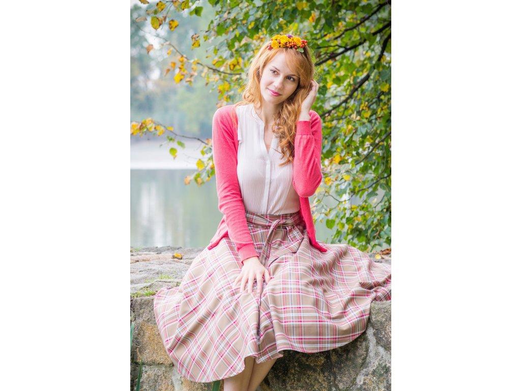 Kruhová sukňa škótska kocka hnedá - viac farieb
