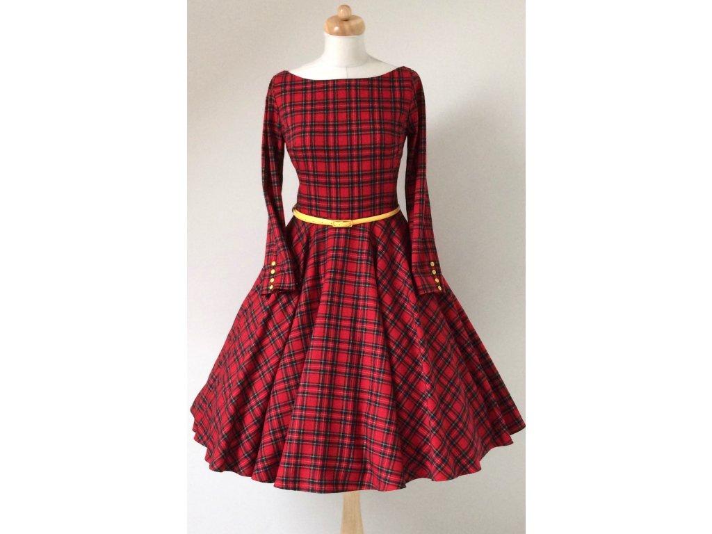 Červené kárované šaty s rukávmi ADELE · Červené kárované šaty s rukávmi  ADELE ... 9f1dbca7324