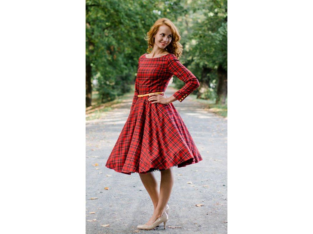Červené kárované šaty s rukávmi ADELE