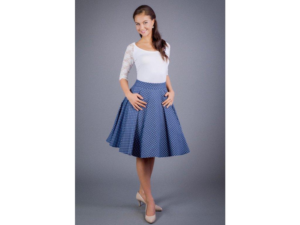 Kruhová sukňa denim s bodkami - MiaBella 606729fb150