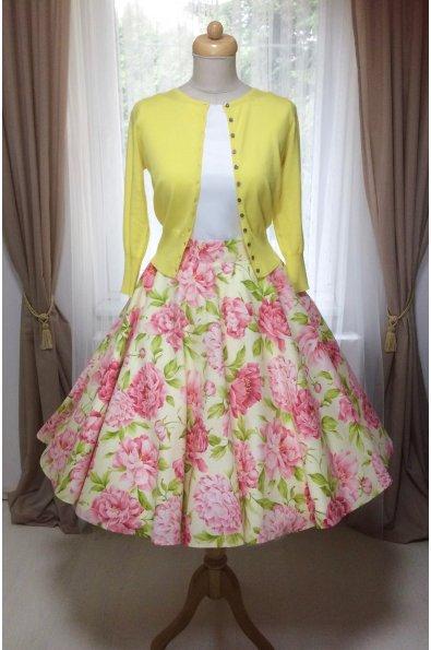 Kruhová sukňa s pivonkami