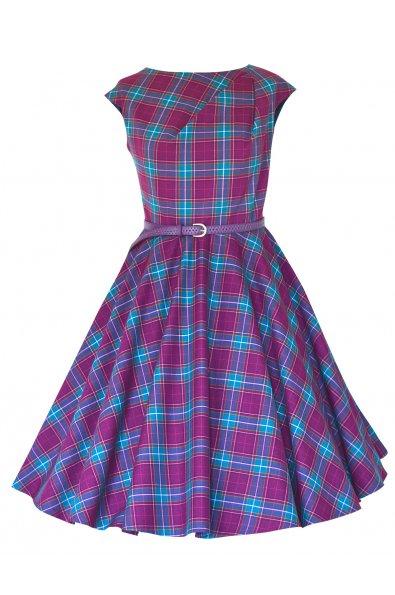 CHANTE retro šaty kocka fialová - viac farieb