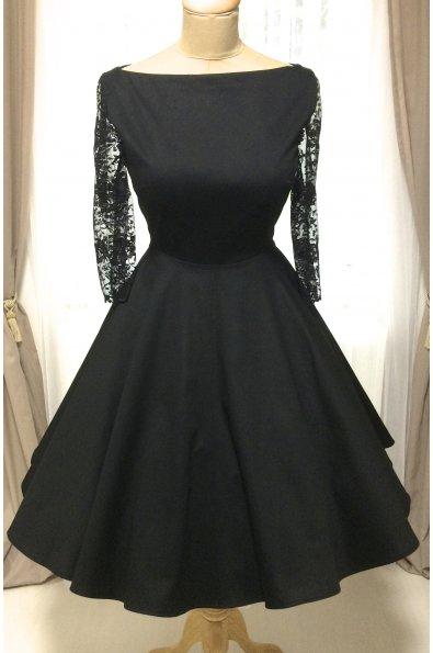 ADELE retro šaty s čipkovanými rukávmi