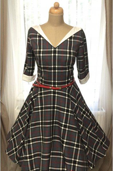 LOREN retro šaty s rukávom šedé káro