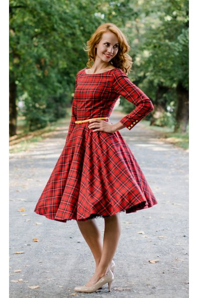 Červené kárované šaty s rukávmi ADELE f535e67b2e