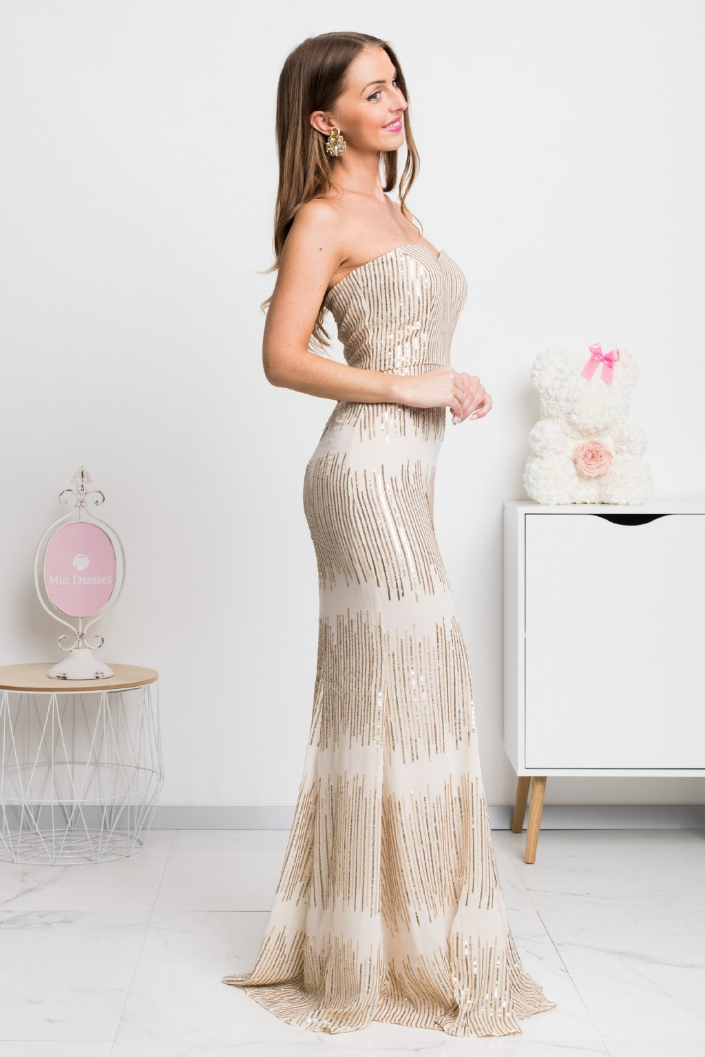 Beige-gold sequin formal dress