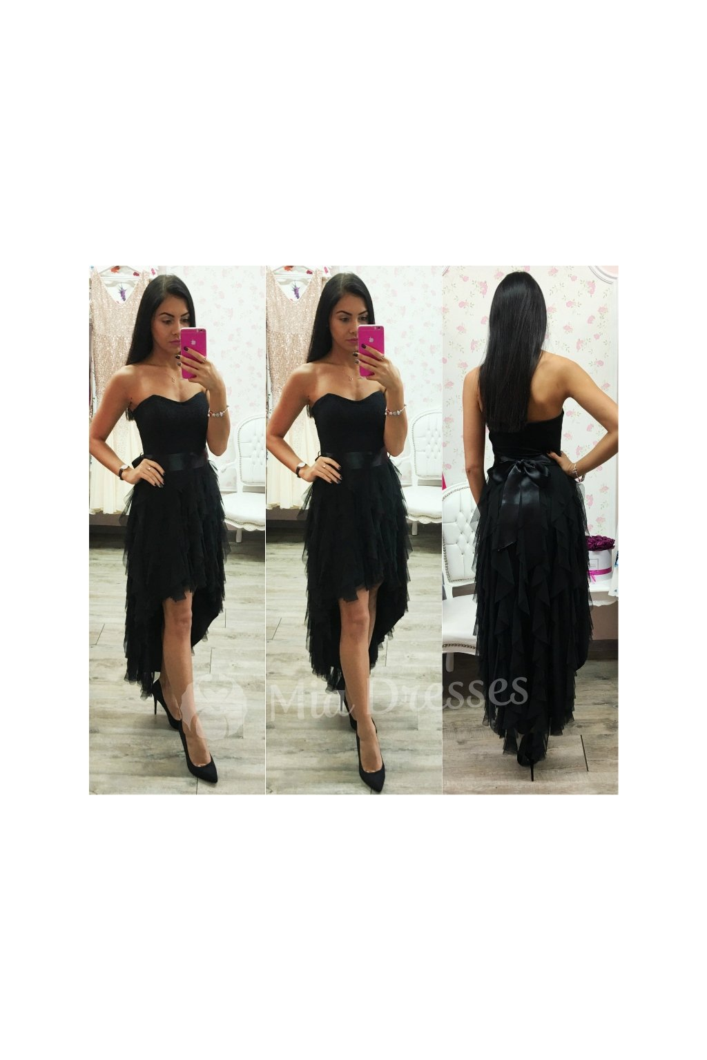 Black asymmetric ribbon dress