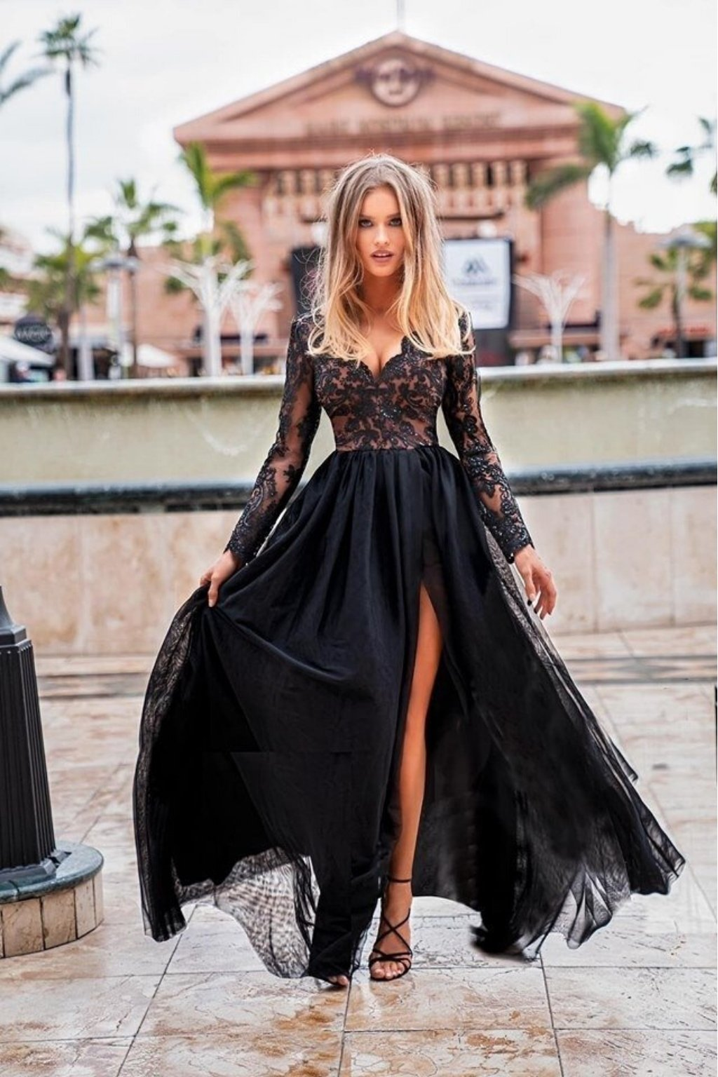 Black lace and tulle formal dress