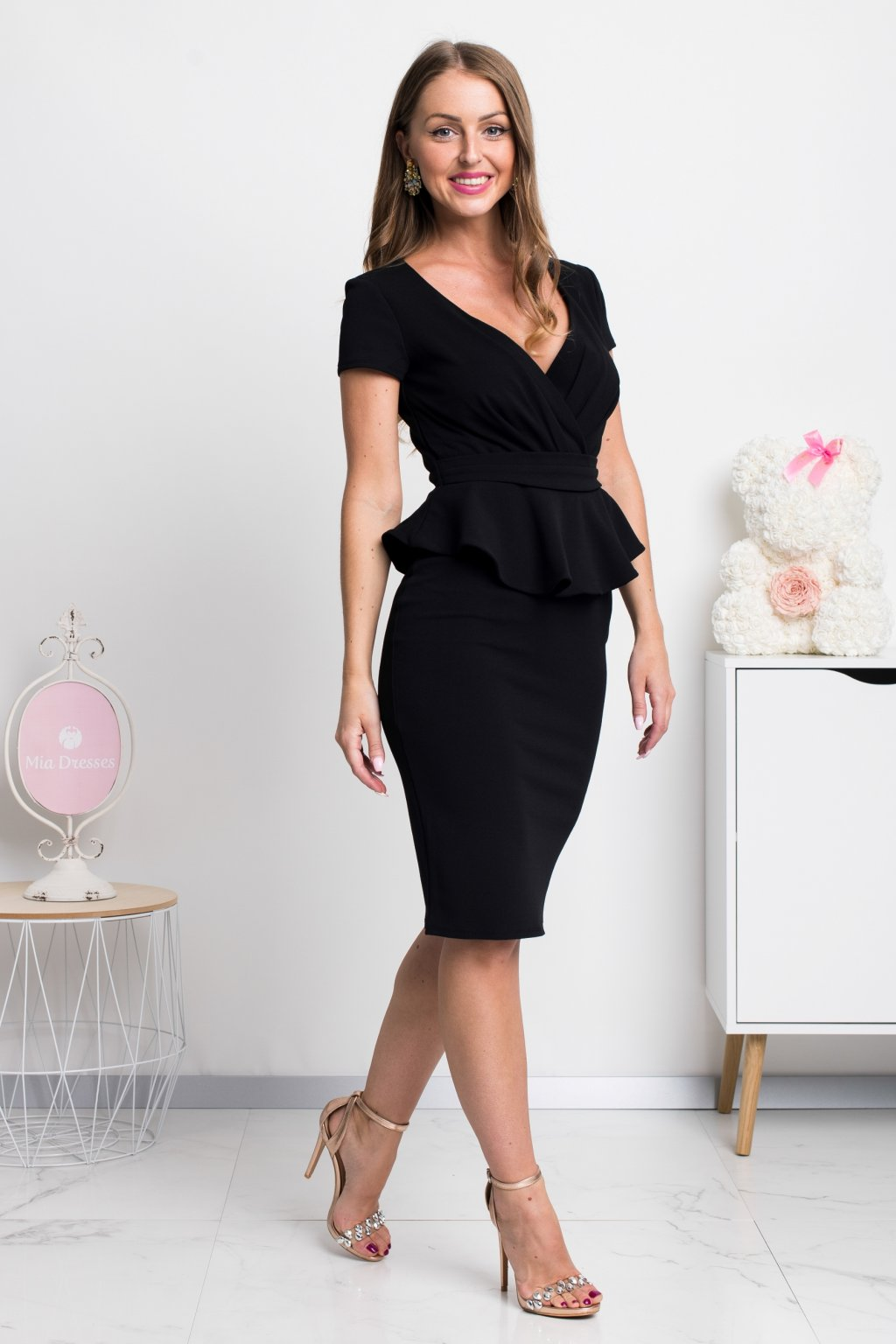 Black peplum ruffle midi dress