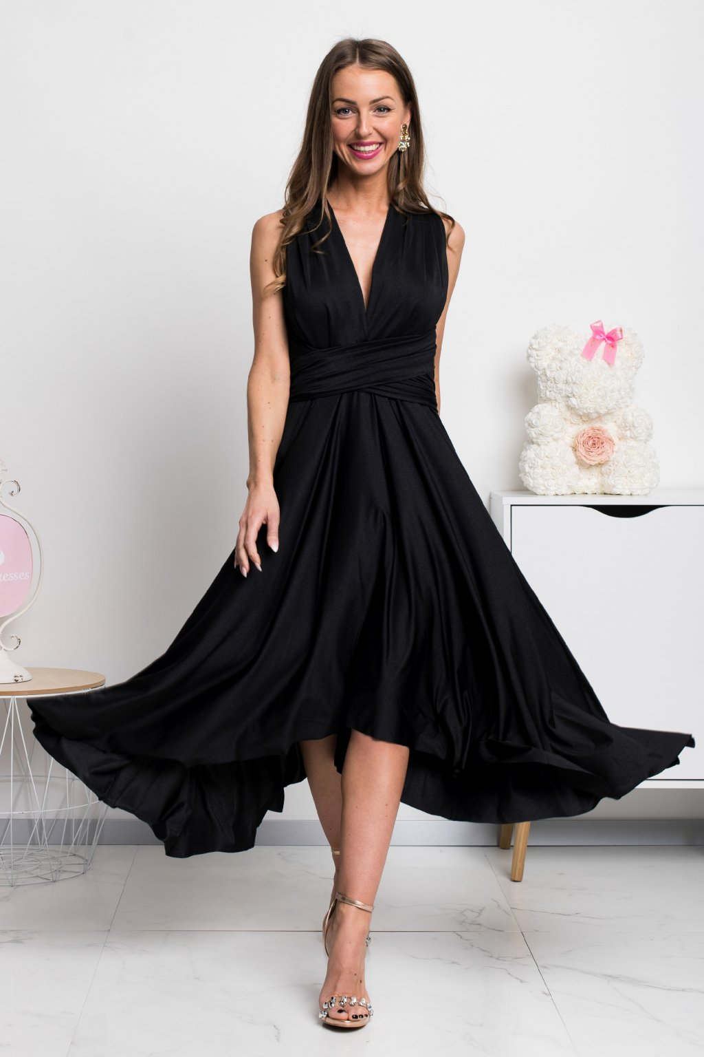 Black tie midi dress