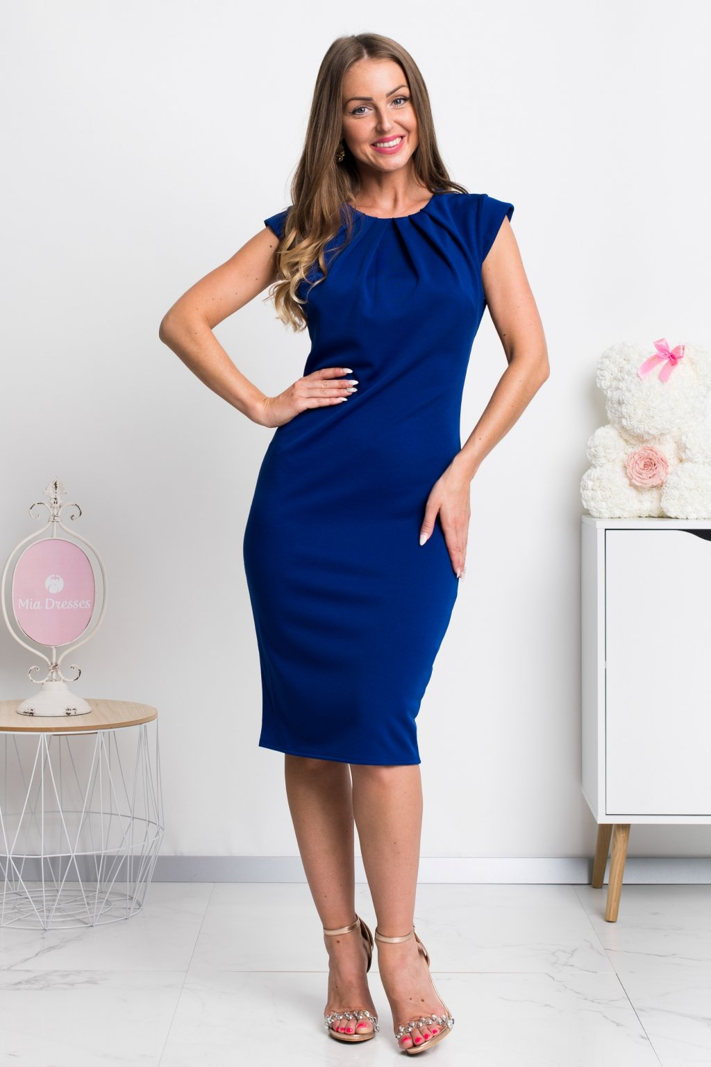 Blue bodycon midi dress