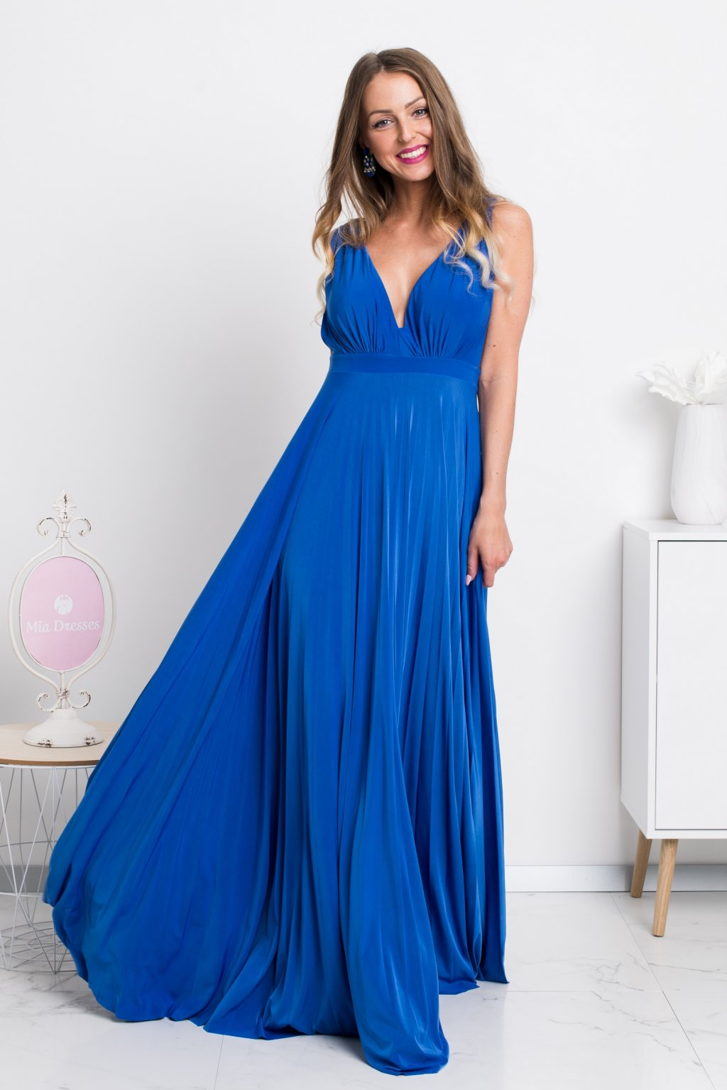 Blue formal dress with pleated skirt