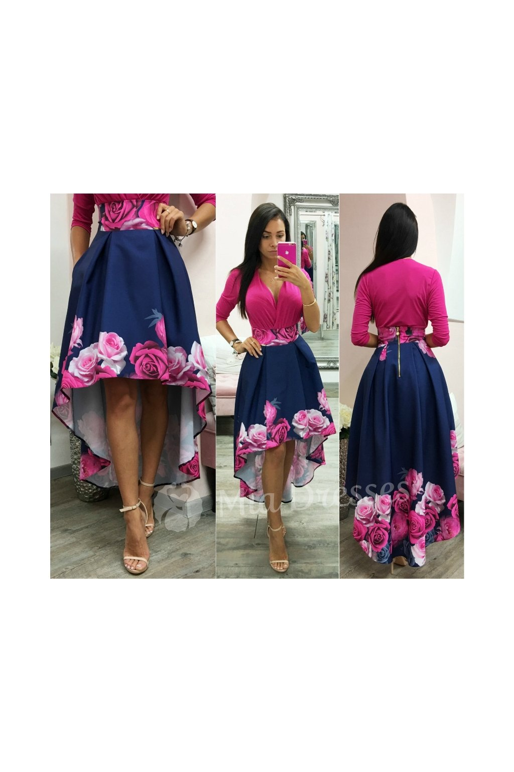 Blue-pink floral asymmetric skirt