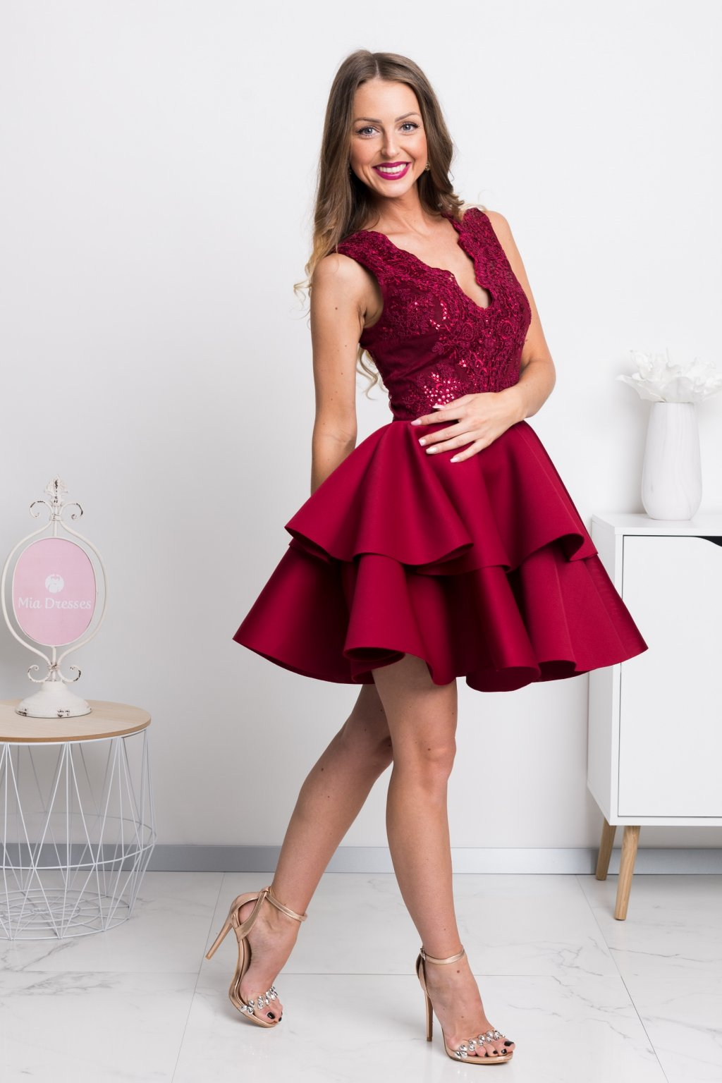 Burgundy a-line formal short dress