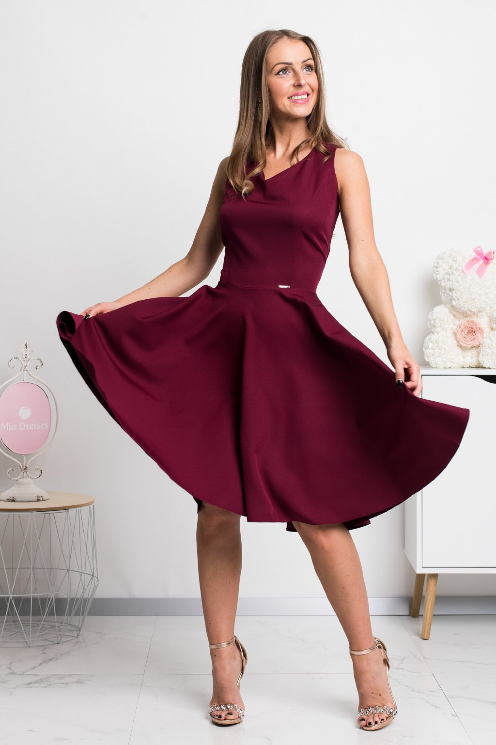 Burgundy a-line short dress