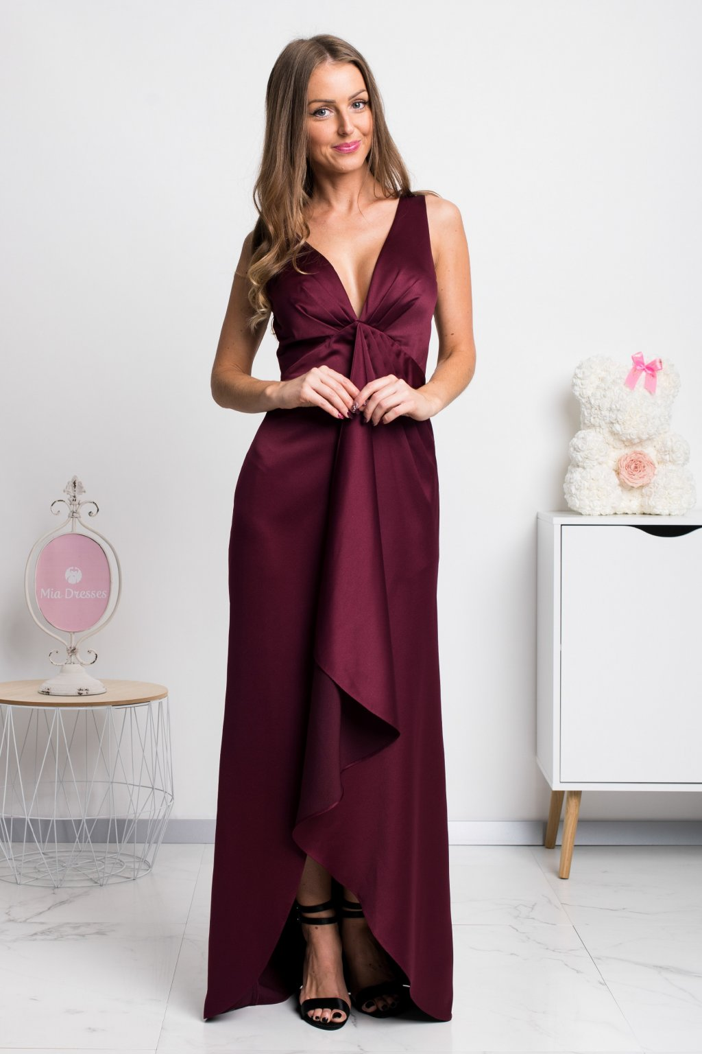 Burgundy asymmetric formal dress