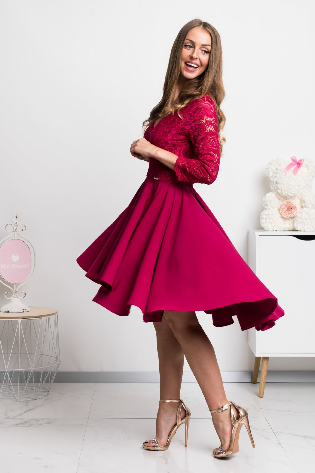 Burgundy asymmetric lace dress