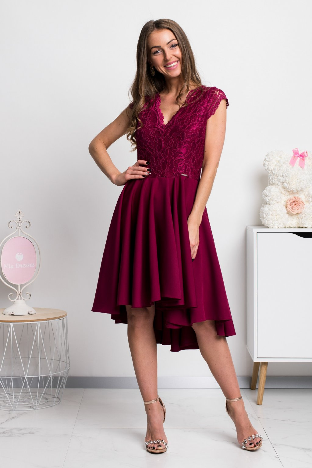 Burgundy asymmetric short sleeve lace dress