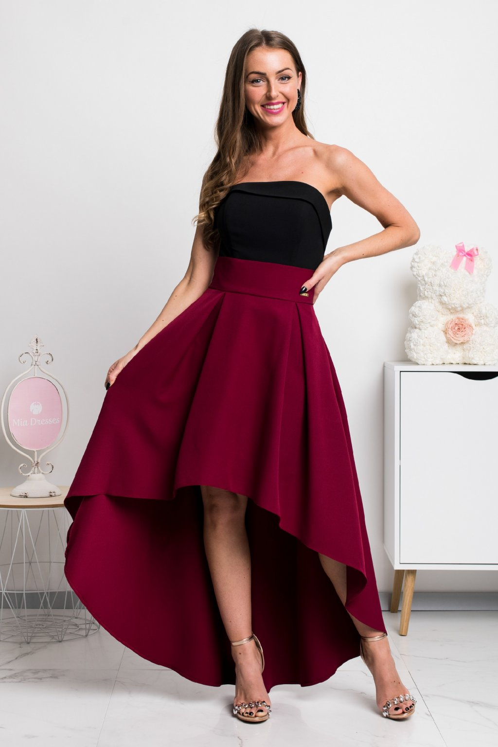 Burgundy asymmetric skirt