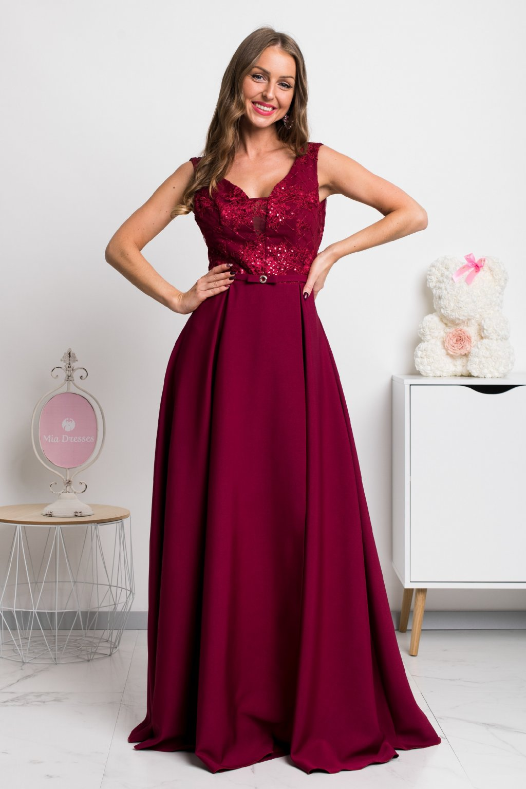 Burgundy lace and sequin formal dress