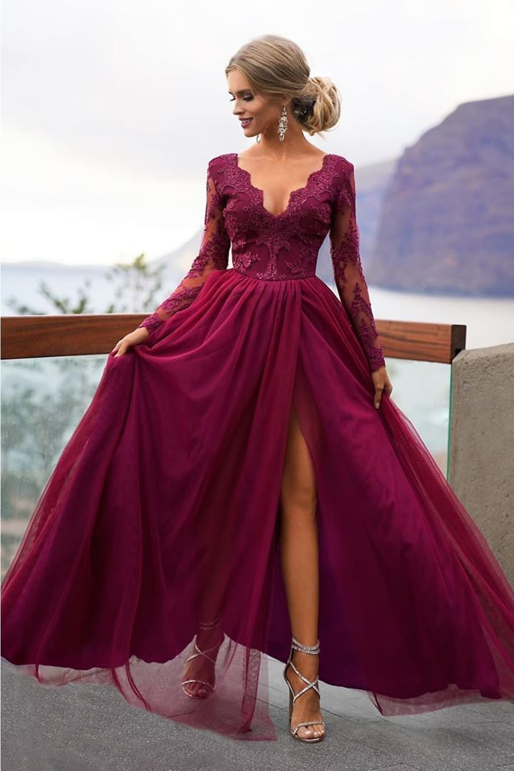 Burgundy lace and tulle formal dress