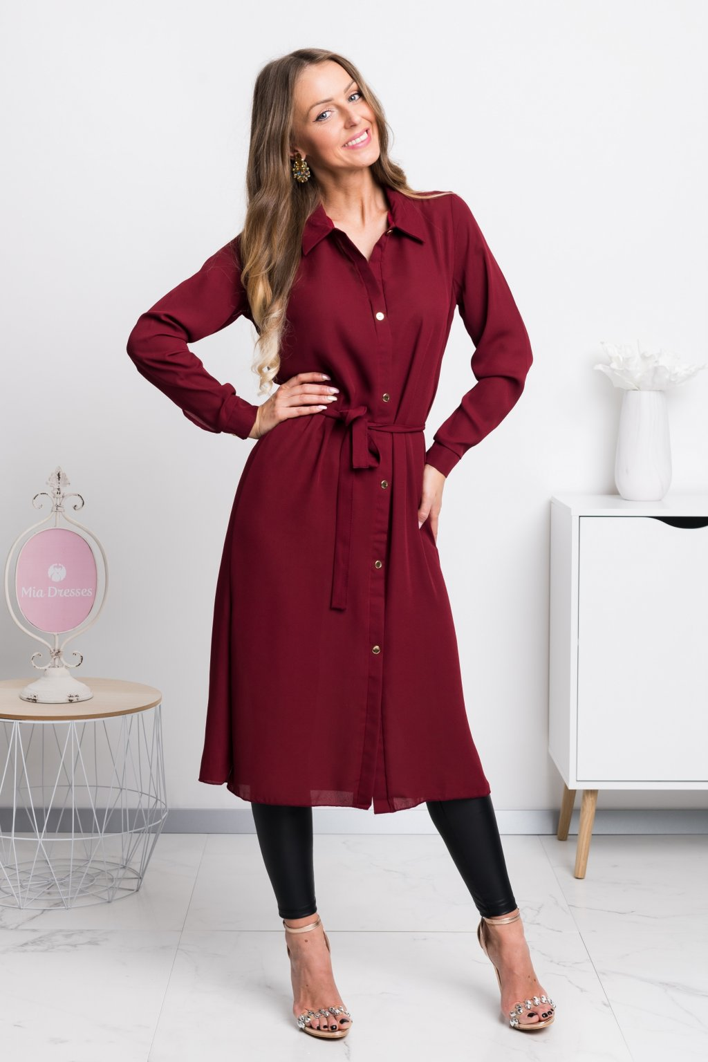 Burgundy long blouse