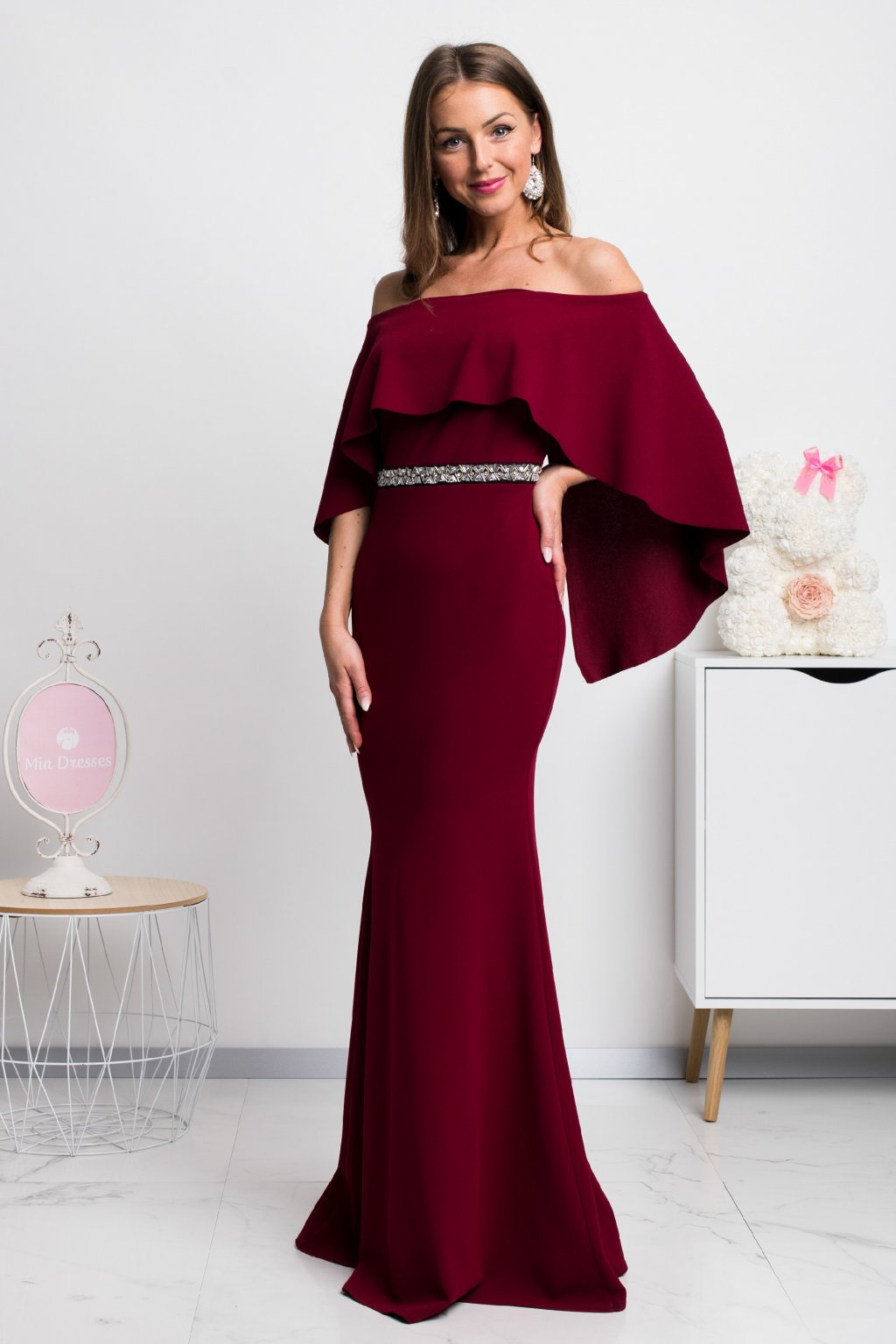 Burgundy off-the-shoulders formal maxi dress
