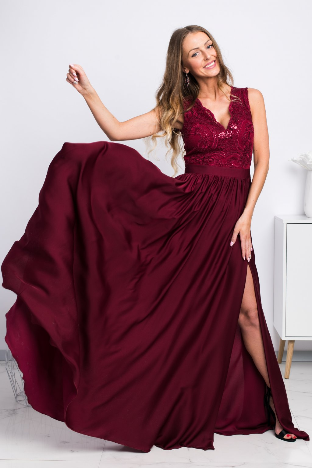 Burgundy satin split formal dress