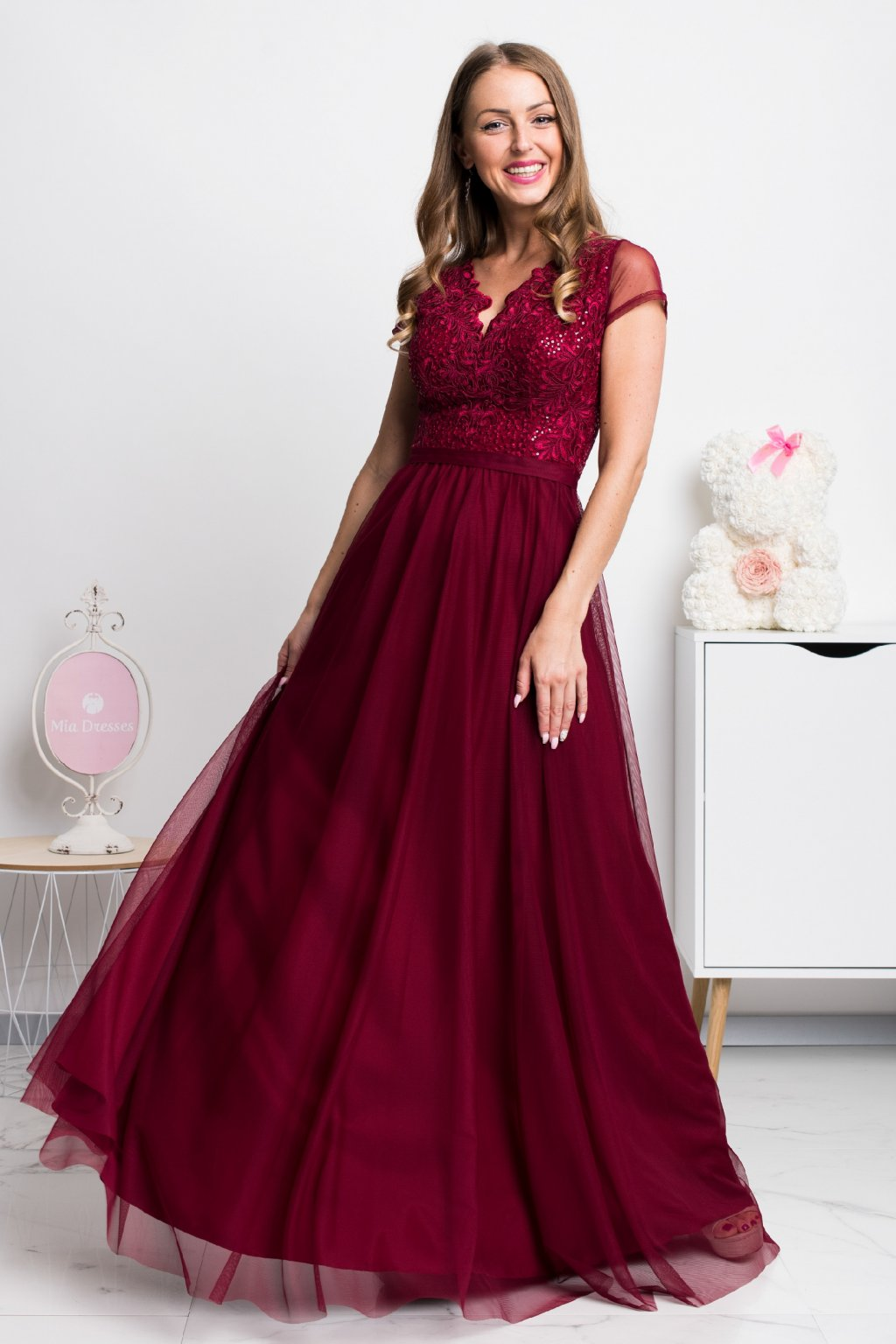 Burgundy tulle and lace formal dress