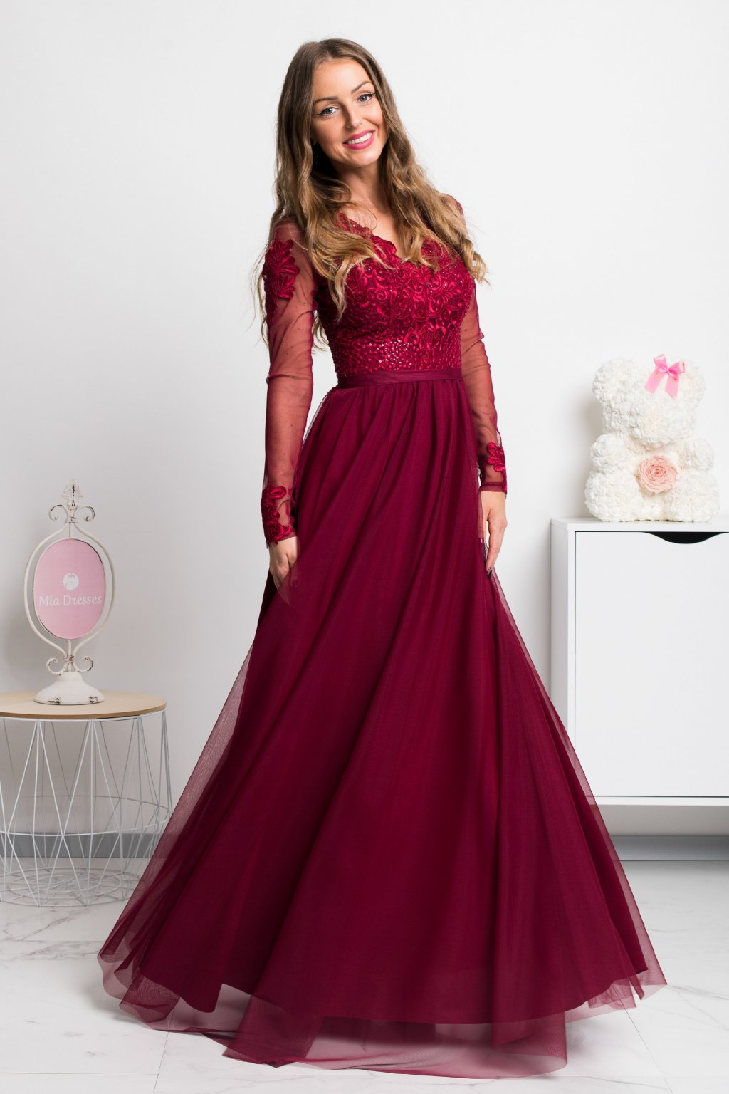Burgundy tulle sleeve maxi dress
