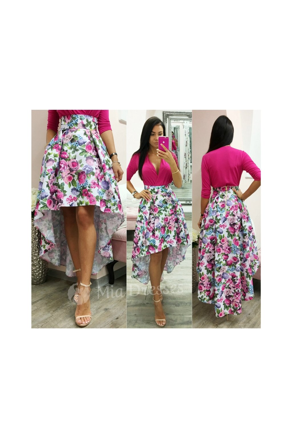 Colorful floral asymmetric skirt