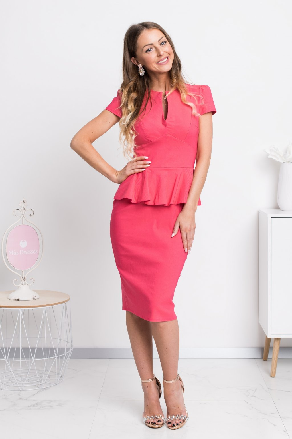 Coral peplum ruffle midi dress