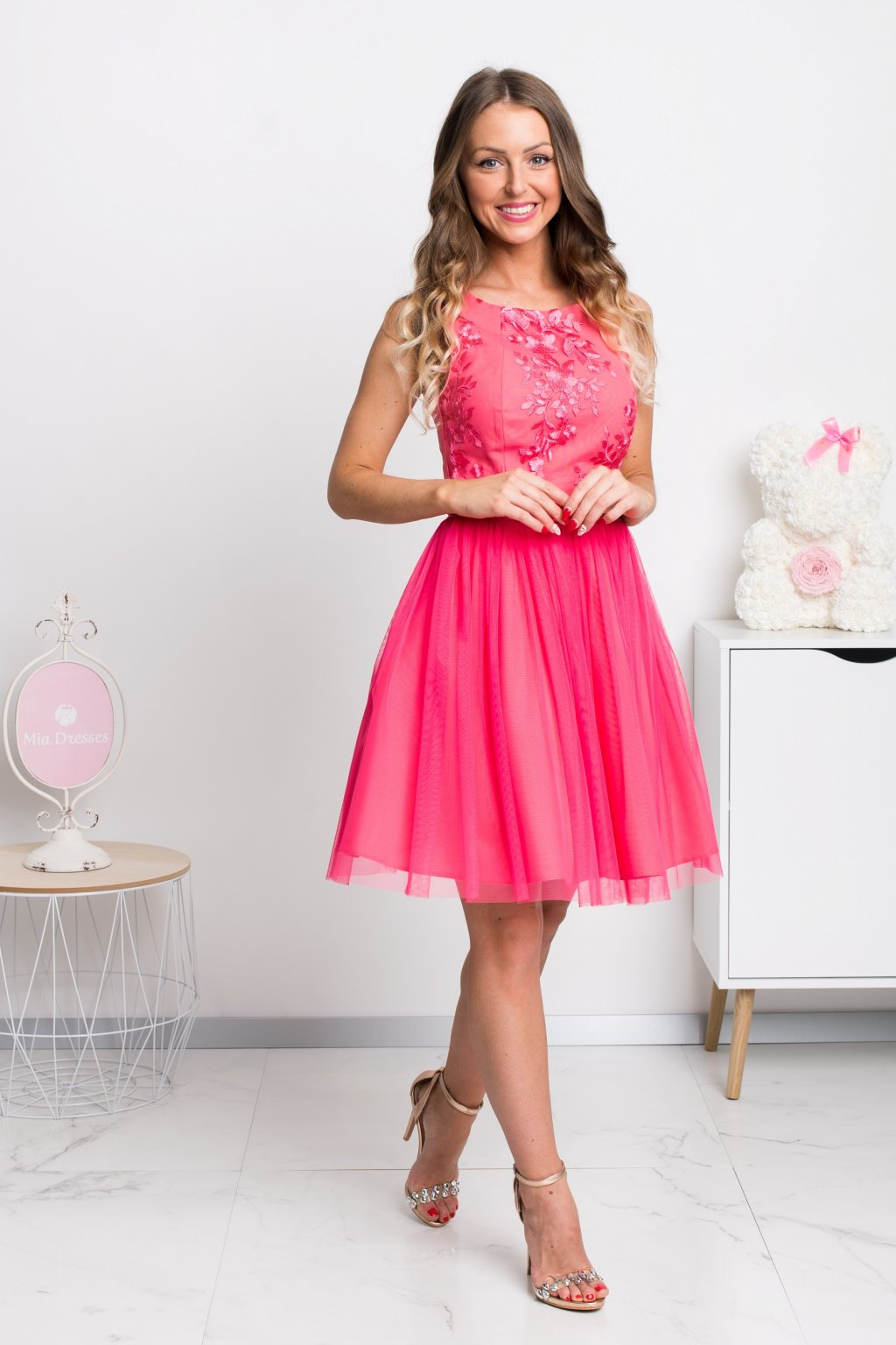 Coral tulle short dress