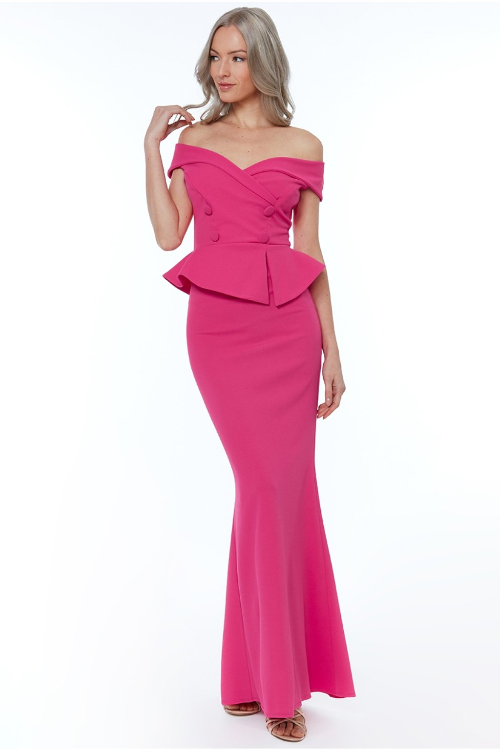 Cyclamen ruffle peplum formal dress