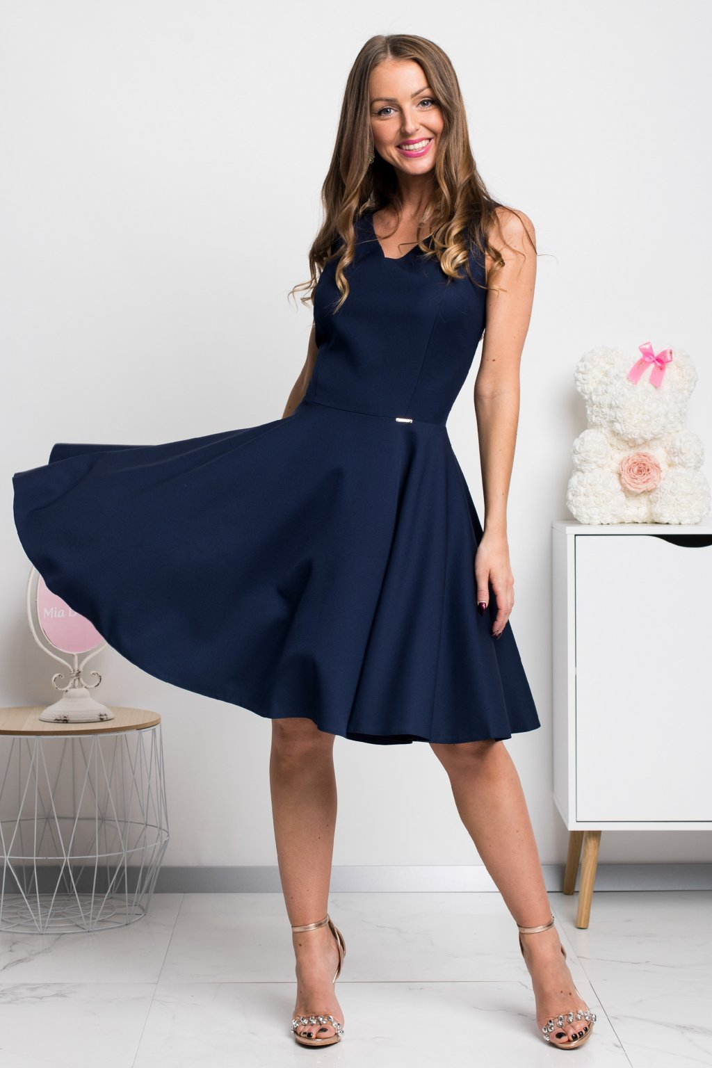 Dark blue a-line short dress