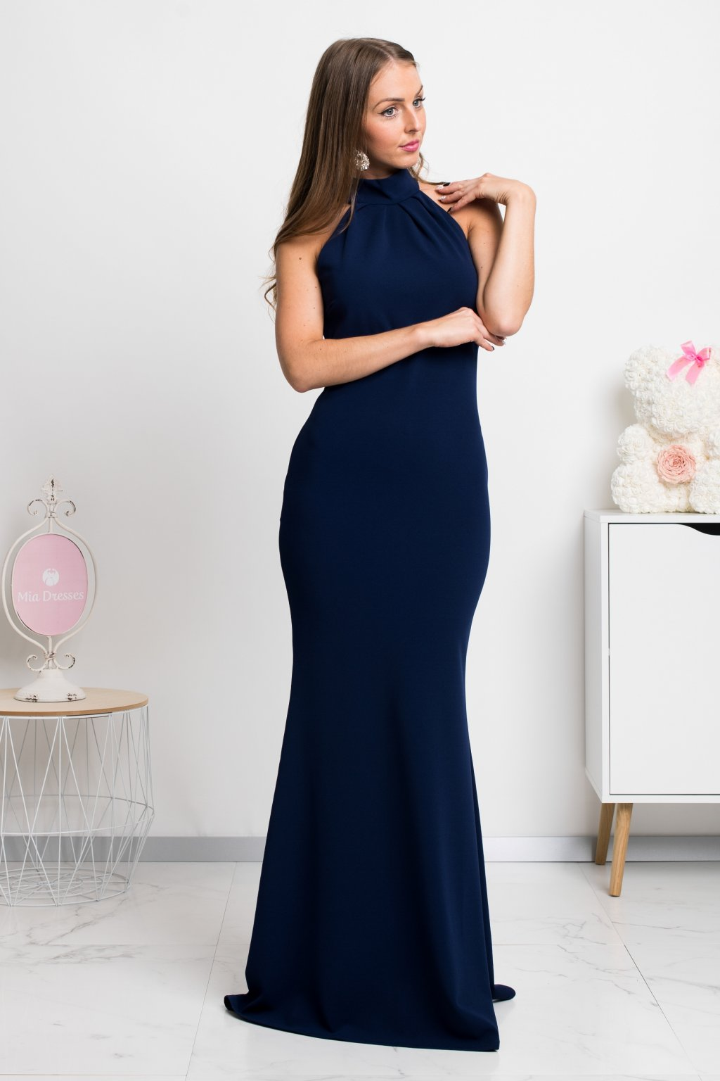 Dark blue backless formal dress