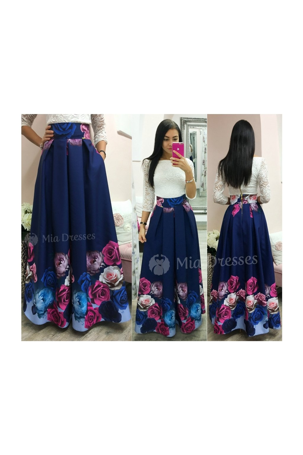 Dark blue floral maxi skirt