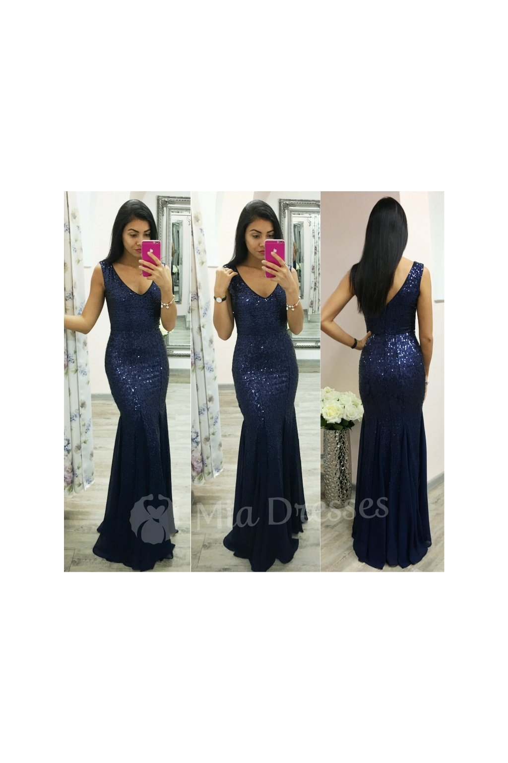 Dark blue sequin formal dress